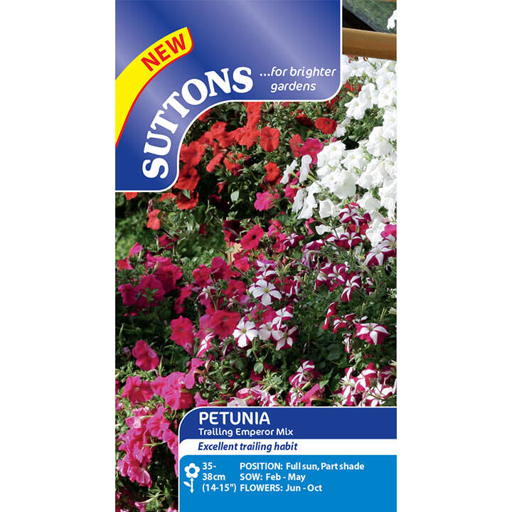 Petunia - F1 Trailing Emperor Mix - Suttons Seeds