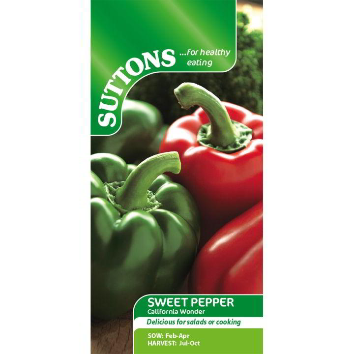 Peppar Söt Frön - Californian Wonder - Suttons Seeds-8370