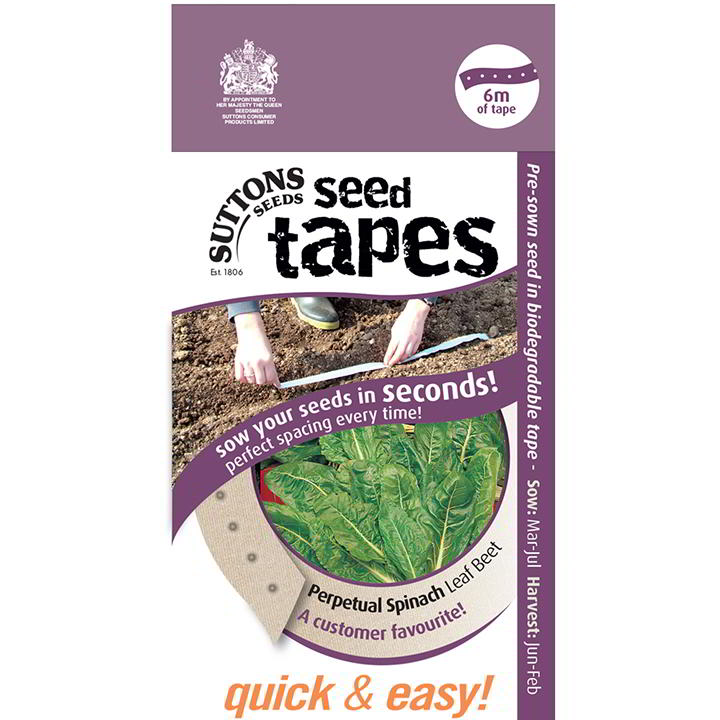 Spenat 'Seed Tape - Perpetual Spinach Leaf' - Suttons Seeds-8247