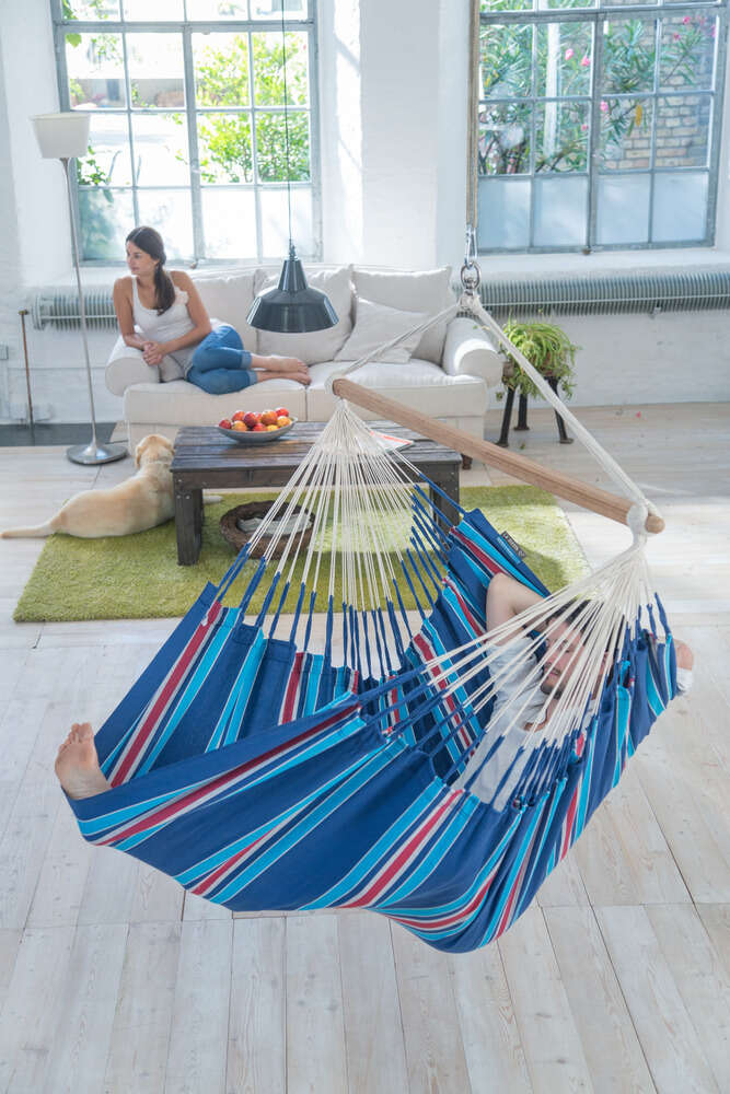 LA SIESTA® Currambera Blueberry - Lounger hängstol i bomull-9974